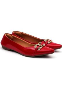Sapatilha Delmont Store Verniz Bico Fino Detalhe Em Metais Feminina - Feminino-Vermelho