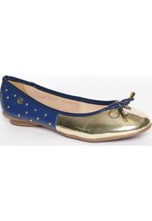 Sapatilha Com Recorte Metalizado- Dourada & Azul Marinhocarmen Steffens