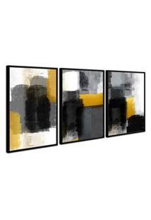 Quadro 90X180Cm Abstrato Dourado Griza Moldura Preta Com Vidro Decorativo Interiores