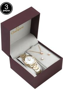 Kit 3Pçs Relógio Champion Cn25959A Dourado