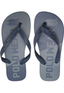 Chinelo Polo Wear Lettering Azul-Marinho