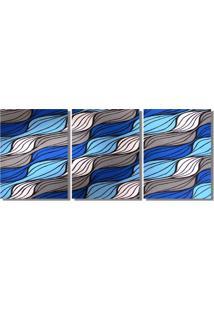 Quadro Painel Decorativo Abstrato Ondas Pintado A Mão Azul