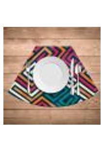 Jogo Americano Para Mesa Redonda Wevans Linhas Abstratas Kit Com 4 Pçs