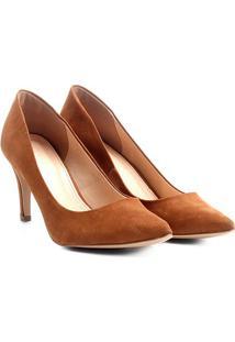 Scarpin Couro Shoestock Salto Alto Básico - Feminino-Caramelo