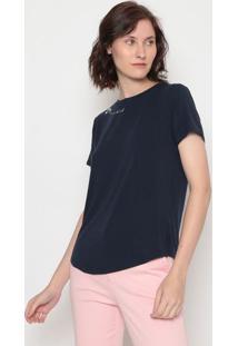 Blusa Com Bordado- Azul Escuro Rosa Claro- Benettobenetton