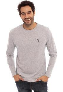 Camiseta Aleatory Básica Manga Longa Freedom Masculina - Masculino-Cinza