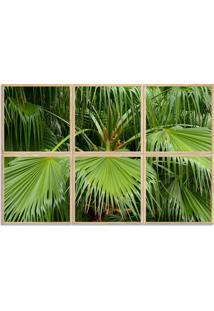 Quadro 100X150Cm Folhas Palmeiras Verde Plantas Moldura Natural