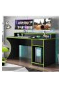 Mesa Escrivaninha Gamer Safira Com 1 Gaveta - Preto/Verde