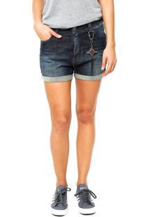 Bermuda Jeans Ellus Reta Adereço Azul