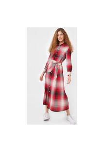 Vestido Polo Ralph Lauren Longo Wool Plaid Vermelho