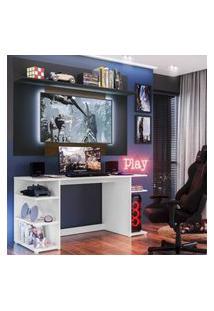 """Mesa Gamer Com Painel Tv 55"""" E Prateleira Guilda Plus Multimóveis Branco/Preto/Madeirado"""