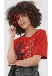 Camiseta Sommer Estampada Vermelha - Vermelho - Feminino - Algodã£O - Dafiti