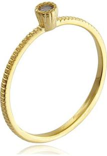 Anel Solitário Com Detalhes E Zircônia Cristal Banhado Em Ouro 18K 15