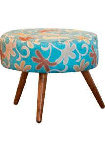 Puff Decorativo Angel Pés Palito Sala Quarto - Floral Azul Jm Estofados