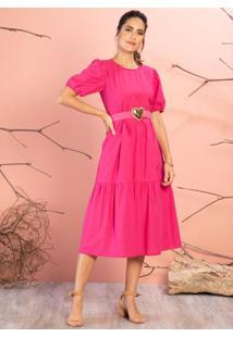 Vestido Pink Mangas Bufantes E Babados No Corpo