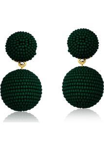 Brinco Bolinha Le Diamond Verde Floresta