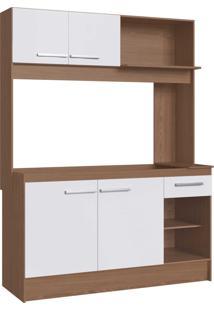 Cozinha Delta 4 Portas E 1 Gaveta Avelã/Branco Decibal