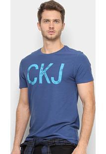 Camiseta Calvin Klein Manga Curta Masculina - Masculino-Azul Escuro
