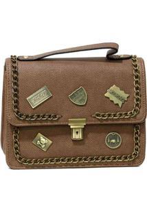 Bolsa Pequena Com Patches Khaki Marrom