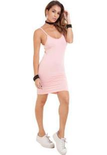 Vestido Manola Alça Fina Suplex Feminina - Feminino-Rosa