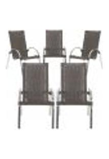 Cadeiras 5Un Para Area Varanda Fibra Sintetica Sala Cozinha Jardim Sacada Garden - Pedra Ferro