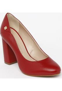 Sapato Tradicional Em Couro Com Recorte & Tag- Vermelho