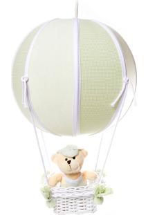 Lustre Balão Bolinha Urso Quarto Bebê Infantil Menino Potinho De Mel Verde - Kanui