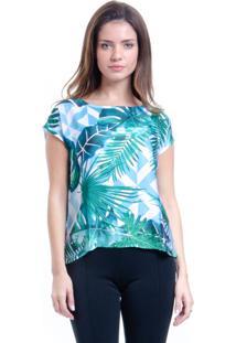 Blusa 101 Resort Wear Crepe Estampada Folhas Verde