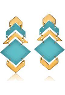 Brinco Le Diamond Triângulos Turquesa - Kanui