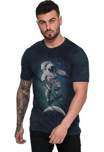 Camiseta Di Nuevo Astronauta Skatista Do Espaço Azul