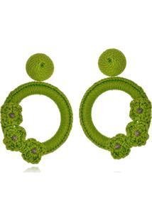 Brinco Le Diamond Liza Crochê Com 3 Flores Verde - Kanui