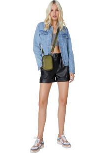 Shorts Leather Com Cinto