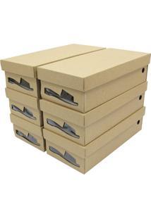 Kit De Caixas Para Rasteirinha Com Visor - Bege - 6Pboxmania