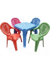 Conjunto Mesa Azul E Cadeiras Poltrona Inf Colorida Antares