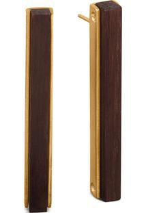 Brinco Wooden Design Geométrico Em Prata 925 - Madeira E Dourado