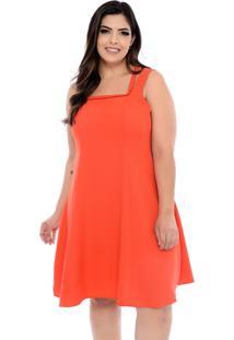 Vestido Forma Rara Plus Size Trançado Laranja-58
