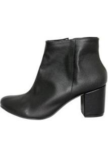 Ankle Boot Mahasa Cano Curto Salto Grosso Feminina - Feminino-Preto