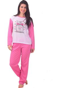 Pijama Tj Vip Lingerie De Inverno Poá Rosa