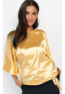 Blusa Mangas Morcego Acetinada Amarela