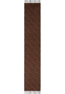 Burberry Cachecol Dupla Face De Cashmere Com Xadrez E Monograma - Marrom