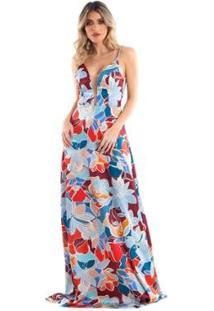 Vestido Longo Lala Dubi Evasê Floral - Feminino-Azul Claro