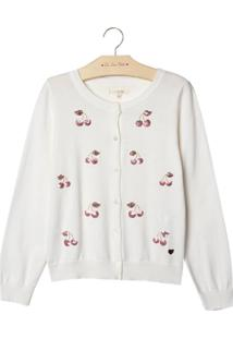 Cardigan Le Lis Petit Cherry Tricot Off White Feminino (Dust, 8)