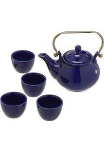 Jogo De Bule Com Xícaras Para Chá- Azul Escuro & Douradomabruk