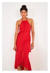 Vestido Transpassado Babado S Vermelho Pimenta