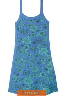 Vestido Azul Floral Com Recorte Plus