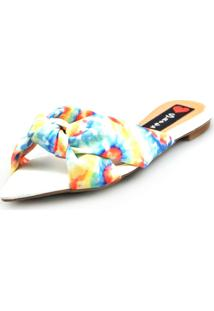 Sandália Love Shoes Rasteira Bico Folha Nó Tie-Dye Azul