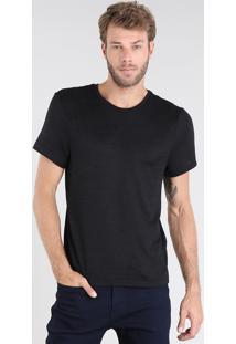 Camiseta Masculina Slim Fit Em Tricô Manga Curta Gola Careca Preta
