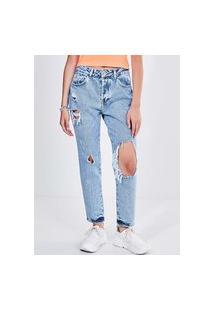 Calça Reta Em Jeans Médio Com Rasgos