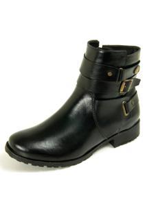 Bota Ankle Boot Dhatz Sola Baixa Cano Curto Não Possui Cadarço Preto
