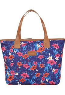 Bolsa Santa Lolla Shopper Tecido Flores-045923A8 - Feminino-Marinho